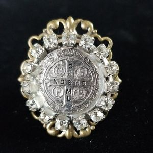Vintage Relic Medal Rhinestone Ring Adjustable NWT